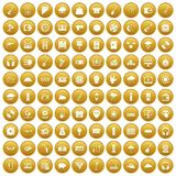 100 music festival icons set gold. 100 music festival icons set in gold circle isolated on white vectr illustration Stock Images
