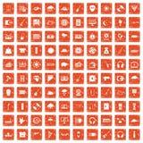 100 music festival icons set grunge orange. 100 music festival icons set in grunge style orange color isolated on white background vector illustration Royalty Free Stock Images