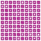 100 music festival icons set grunge pink. 100 music festival icons set in grunge style pink color isolated on white background vector illustration Royalty Free Stock Images
