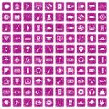 100 music festival icons set grunge pink. 100 music festival icons set in grunge style pink color isolated on white background vector illustration vector illustration
