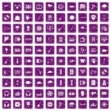 100 music festival icons set grunge purple. 100 music festival icons set in grunge style purple color isolated on white background vector illustration Royalty Free Stock Photos