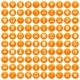 100 music festival icons set orange. 100 music festival icons set in orange circle isolated vector illustration royalty free illustration
