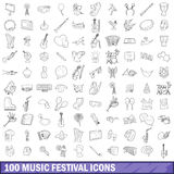 100 music festival icons set, outline style. 100 music festival icons set in outline style for any design vector illustration Stock Image