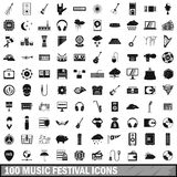 100 music festival icons set, simple style Royalty Free Stock Photography