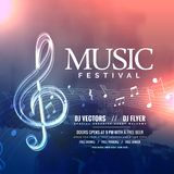 Music festival invitation design with notes. Vector Stock Photo
