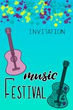 Music festival lettering vector illustration. With acoustic guitar. Modern calligraphy style template for poster, banner, flyer, ticket, event program, brochure royalty free illustration