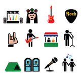 Music festival, live concert vector icons set Royalty Free Stock Image