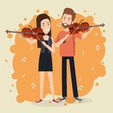 Music festival live with couple playing violins. Vector illustration design Stock Photography