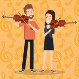 Music festival live with couple playing violins. Vector illustration design Royalty Free Stock Image