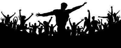 Music festival. Party, concert, dance, fun. Crowd of people silhouette vector. Cheerful youth. Cheer audience. Hand applause. Sports fans Royalty Free Stock Photo
