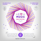 Music festival Party invitation Arts flyer. Classic, electronic or rock, jazz concert. Vector music retro square banner. Vector modern minimalist style Royalty Free Stock Photography