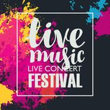 Music festival poster with bright abstract spots Stock Photography