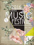 Music festival poster design. Music festival poster template design with floral element Stock Images