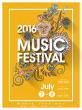 Music festival poster design. Music festival poster template design with floral elements Stock Photography