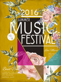 Music festival poster design. Music festival poster template design with floral elements Royalty Free Stock Images