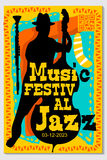 Music Festival Poster Design Vector Jazz Instrument Royalty Free Stock Photos