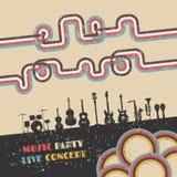 Music festival poster. Grunge music festival poster, retro revival Stock Photos