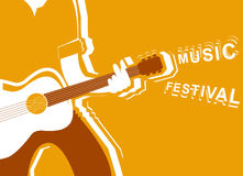 Music festival poster with man musician and guitar. Royalty Free Stock Images