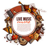 Music festival poster of musical instruments. Live music concert poster of musical instruments. Vector design of folk accordion, ethnic jembe drums, jazz Stock Photos
