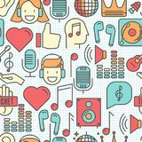 Music festival seamless pattern. With thin line icons DJ in headphones, vinyl player, disco ball, microphone, tickets. Vector illustration for banner, web page Stock Photos