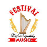 Music festival sign with harp and trumpet. Music festival or musical instrument sign of cartoon harp with trumpets on both sides, adorned by forked red ribbon Royalty Free Stock Photo