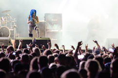 Music festival Topfest 2015, Piestany, Slovakia. PIESTANY, SLOVAKIA - JUNE 26: Alissa White-Gluz of Swedish melodic death metal band Arch Enemy performs on music Royalty Free Stock Photography