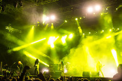 Music festival Topfest 2015, Piestany, Slovakia. PIESTANY, SLOVAKIA - JUNE 26: Swedish melodic death metal band Arch Enemy performs on music festival Topfest in Royalty Free Stock Photos