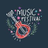 Music festival vector illustration, guitar art and lettering text. Hippie chic, bohemian style. Hand drawn banner, poster, postcard or t-shirt print vector illustration