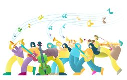 Music festival vector poster banner design template. Music festival vector poster banner template with musicians color cartoon characters playing saxophone stock illustration