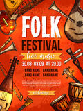 Music festival vector poster template. Folk music festival poster design template of national or ethnic musical instruments african jembe drums, russian Royalty Free Stock Photos