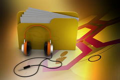 Music file folder. In color background Stock Photos