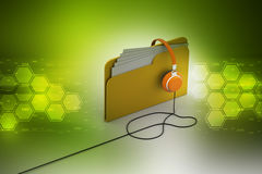 Music file folder with head phone Stock Photography