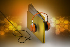 Music file folder with head phone. In color background Royalty Free Stock Photography
