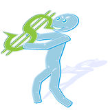 Music and finance (3). Illustration with the abstract image of the saxophonist with a saxophon stylized under a sign on dollar, symbolizes - game at a financial Royalty Free Stock Photo