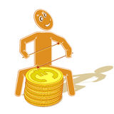 Music and finance (4). Illustration with the abstract image of the drummer playing on a drum in the form of the stylized coins of euro, symbolizes - game at a Stock Images