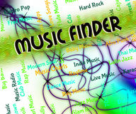 Music Finder Means Sound Track And Audio. Music Finder Showing Sound Track And Song Royalty Free Stock Photo