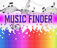 Music Finder Shows Sound Tracks And Audio. Music Finder Representing Search Out And Finds Royalty Free Stock Image
