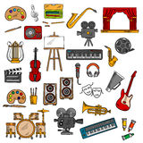 Music, fine art, cinema and theater icons. Musical instruments  and microphone, paints and pencils, easel and record player, headphones and loudspeakers, retro Royalty Free Stock Photography