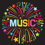 Music firework. Music design, music firework, music notes vector illustration
