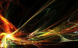 Music Flame Abstract. Music bright energy flame colored abstract background, horizontal, over black Stock Photo