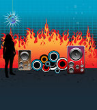 Music and flames. Abstract colorful illustration with woman shape standing in front of burning flames and colorful loudspeakers Stock Photography