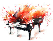 Music. Flaming fiery piano playing bewitching melody Stock Image