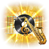 Music in flash, treble clef, vinyl sax Royalty Free Stock Photos