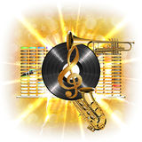 Music in flash, treble clef, vinyl sax and trumpet. Musical background flash, treble clef, vinyl sax and trumpet in the background clarified equalizer. Made stock illustration