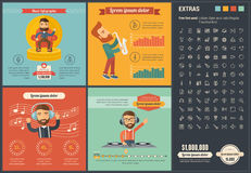 Music flat design Infographic Template Stock Photos