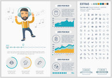 Music flat design Infographic Template Royalty Free Stock Photos