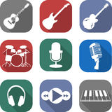 Music flat icon set Royalty Free Stock Photography