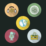 Music flat icon Stock Photos