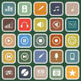Music flat icons on green background Stock Photos