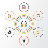 Music Flat Icons Set. Collection Of Broadcasting, Media, Dj And Other Elements. Also Includes Symbols Such As Fm Royalty Free Stock Photography